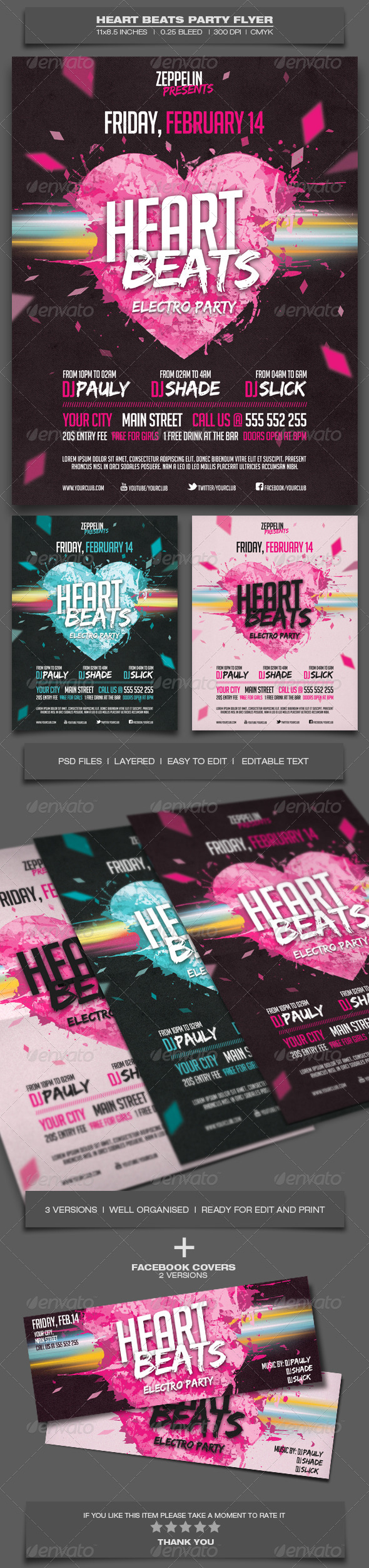 Heart Beats Party - Event Flyer Template - Clubs & Parties Events