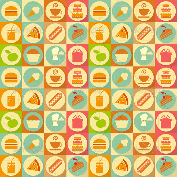 Flat Food Seamless Background - Backgrounds Decorative