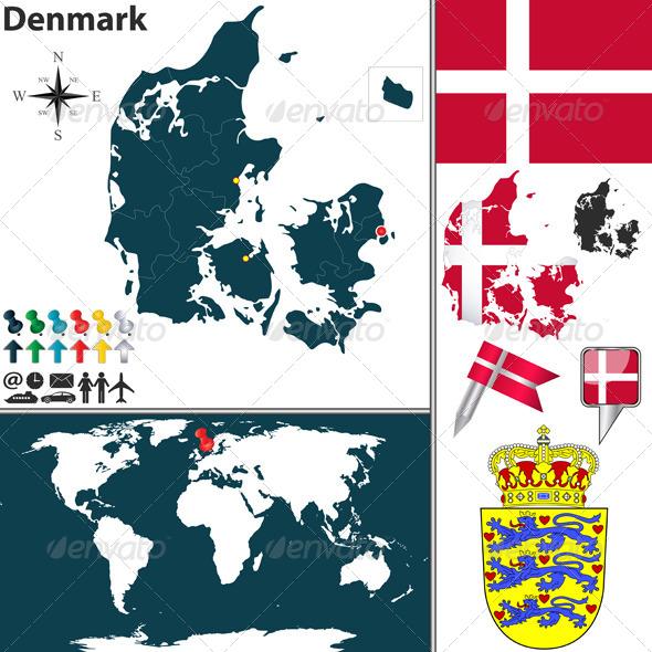 Map of Denmark - Travel Conceptual