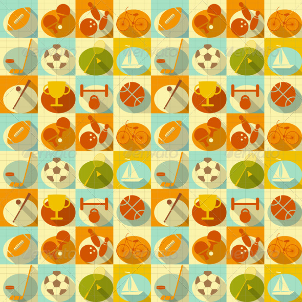 Flat Sports Seamless Background - Backgrounds Decorative