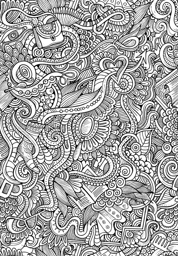 Doodles Seamless Fashion Pattern - Decorative Vectors