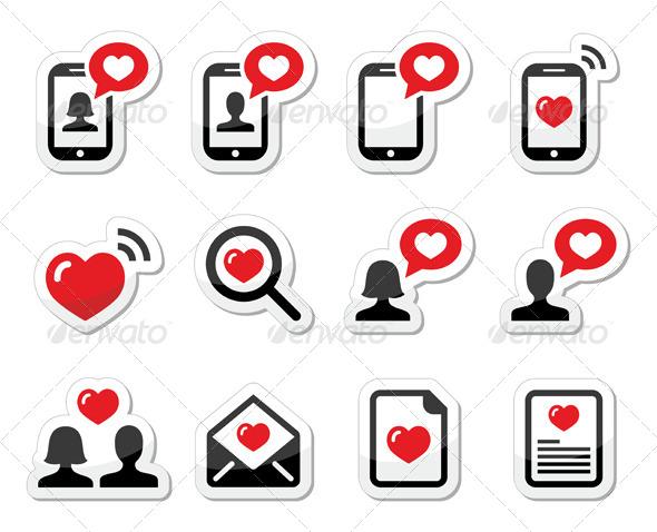 Couples Valentine's Day Icons Set - Valentines Seasons/Holidays