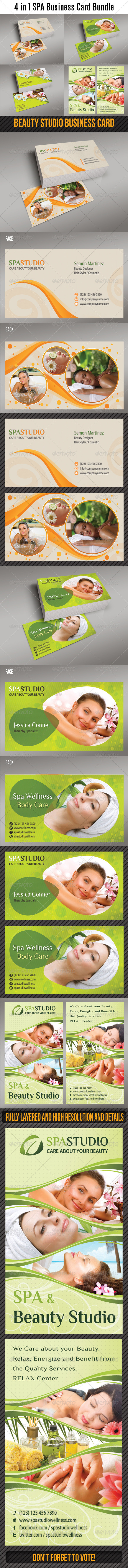 4 in 1 Spa Wellness Business Card Bundle - Creative Business Cards