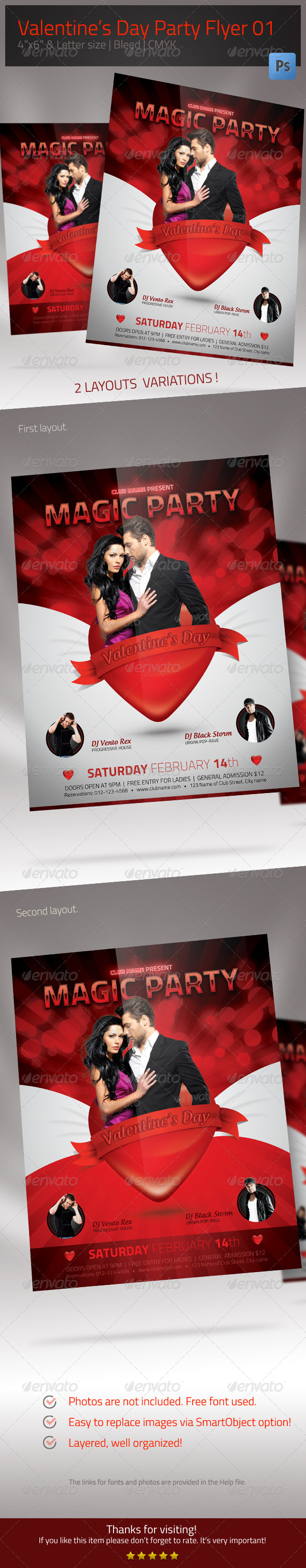 Valentine's Day Flyer 01 - Clubs & Parties Events