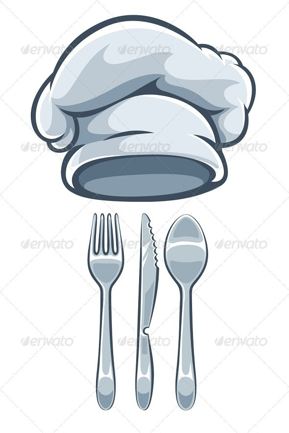 Kitchen Utensils Fork Knife Spoon And Cooks Cap - Man-made Objects Objects
