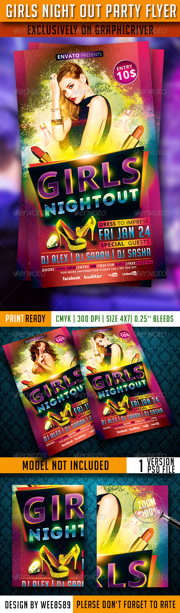 Girls Night Out Party Flyer Template - Clubs & Parties Events