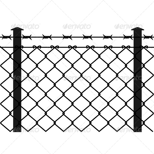 Wire Fence with Barbed Wires - Objects Vectors