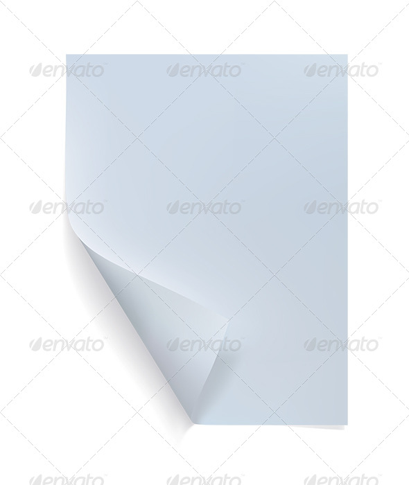 Blank Sheet of Paper with Curl - Objects Illustrations