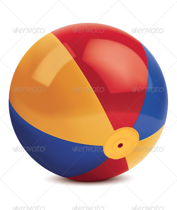 Beach Ball Isolated on White - Man-made Objects Objects