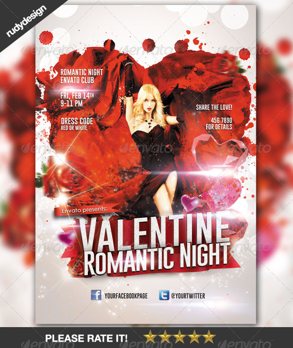 Stylish Valentine Night Party Design Flyer - Clubs & Parties Events