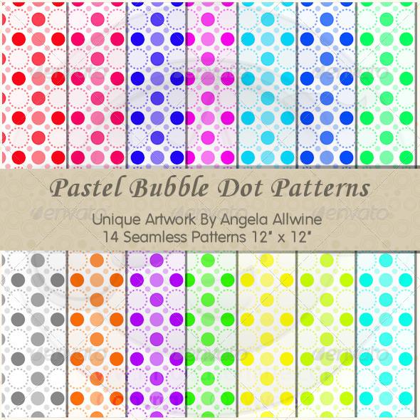 Pastel Bubble Dots Pattern Set - Patterns Backgrounds