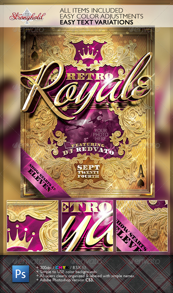 Retro Royal Club Flyer Template - Clubs & Parties Events