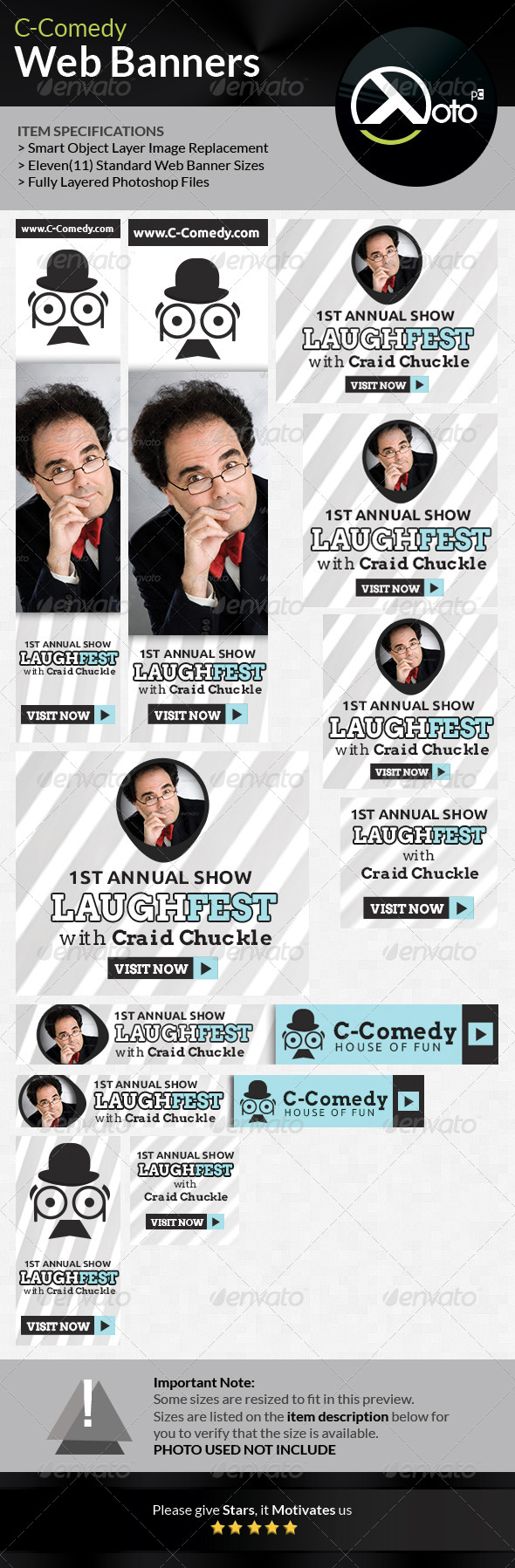 Comedy Bar Shows Web Banners - Banners & Ads Web Elements