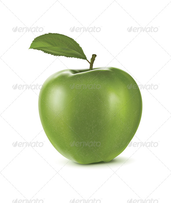 Green Apple with Green Leaf - Food Objects