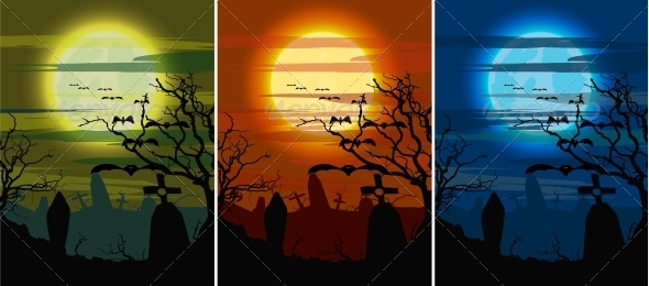 Set Halloween Dark Cemetery - Halloween Seasons/Holidays