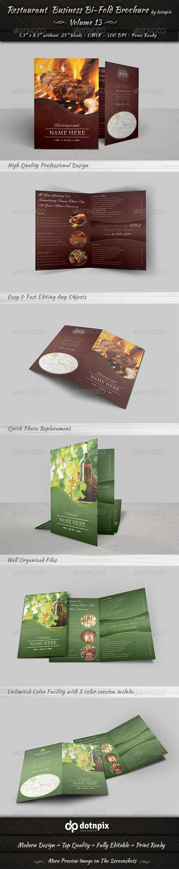 Restaurant Business Bi-Fold Brochure | Volume 13 - Corporate Brochures