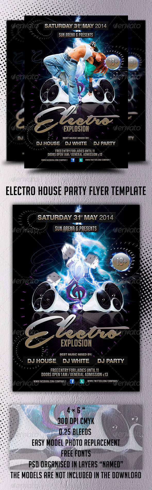 Electro House Party Flyer Template - Events Flyers