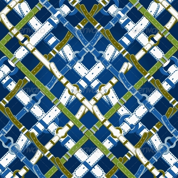 Seamless  Pattern in Nautical Style With Belts. - Backgrounds Decorative