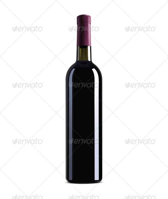 Red Wine Bottle - Food Objects