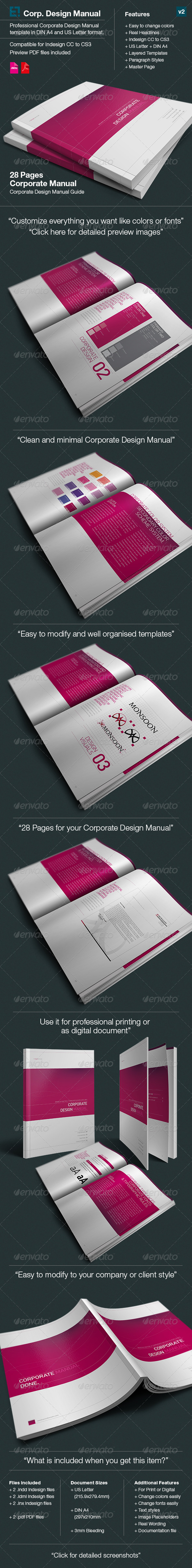 Corporate Design Manual Guide -  28 Pages - Corporate Brochures