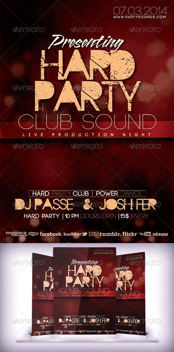 Hard Party Club Flyer - Flyers Print Templates