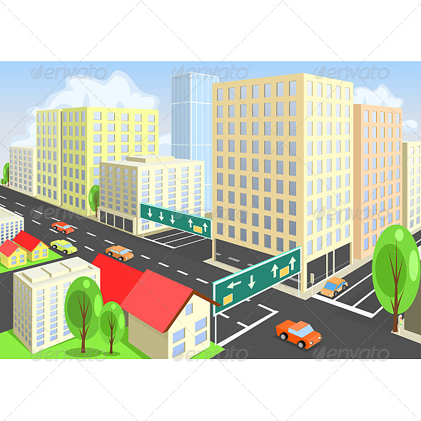 Vector City View from Above - Buildings Objects