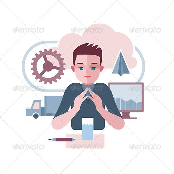 Man Presenting Abstract Corporate Environment - Concepts Business