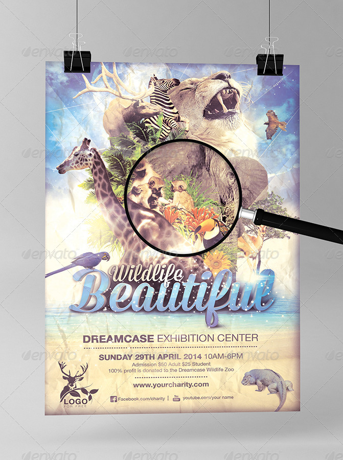 beautiful wildlife animal flyer template by dreamcase