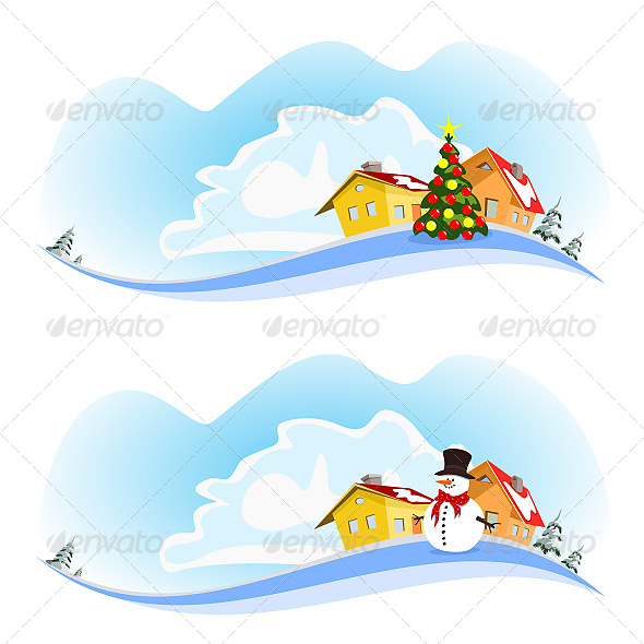 Winter Vector City Two Banners - Christmas Seasons/Holidays