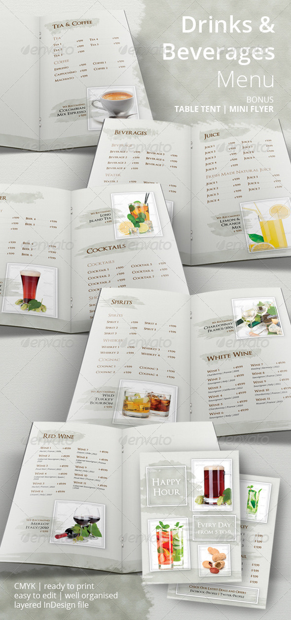 Drinks and Beverages Menu - Food Menus Print Templates