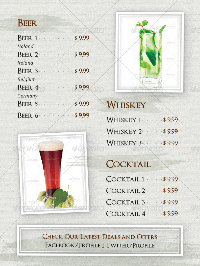 Drinks and beverages menu by gfxtemplate graphicriver for Table 52 drink menu