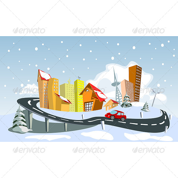 Colorful Winter Vector City - Buildings Objects