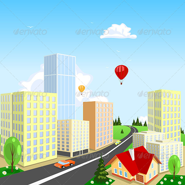 Vector City with a Balloon in the Background - Buildings Objects