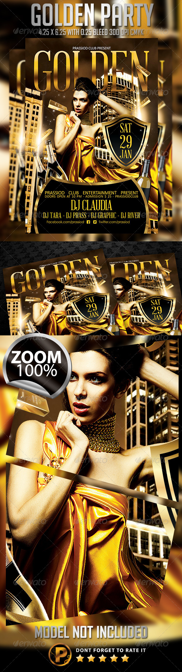 Golden Party Flyer Template - Clubs & Parties Events