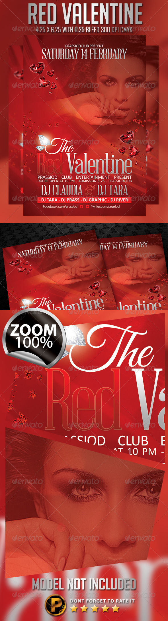Red Valentine Flyer Template - Clubs & Parties Events