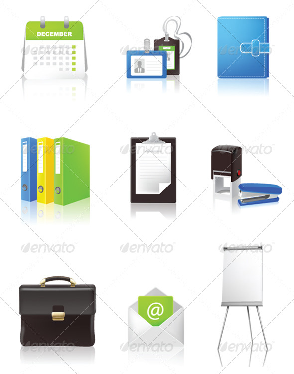 Office and Business Icons - Objects Vectors