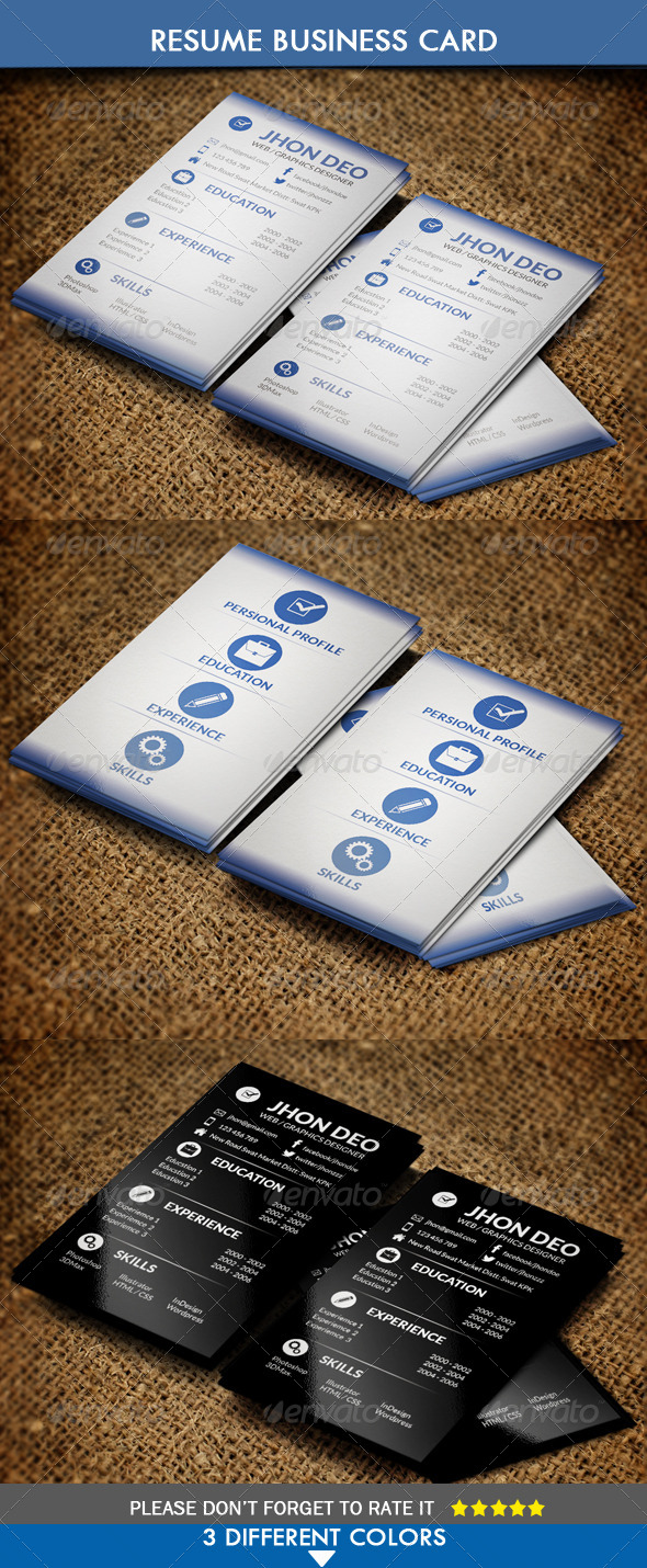 Business Card Resume Style - Business Cards Print Templates