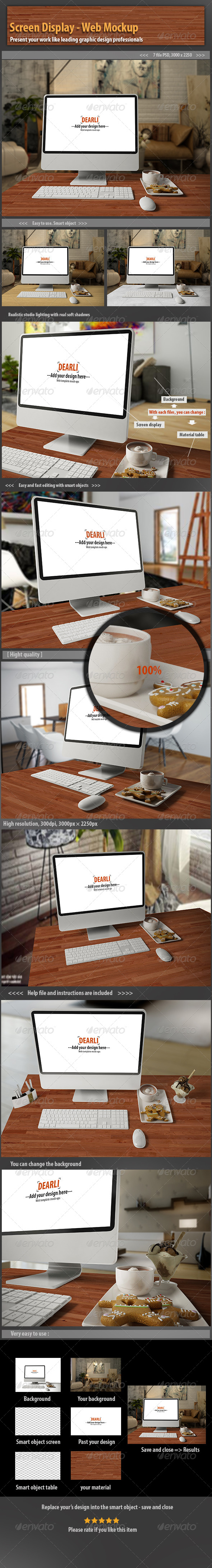 Screen Display- Web Mockup - Displays Product Mock-Ups