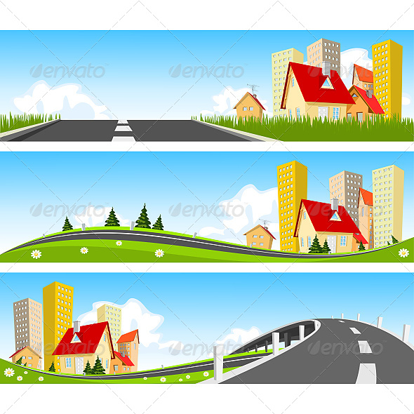 City and Way Through Nature Banner - Nature Conceptual