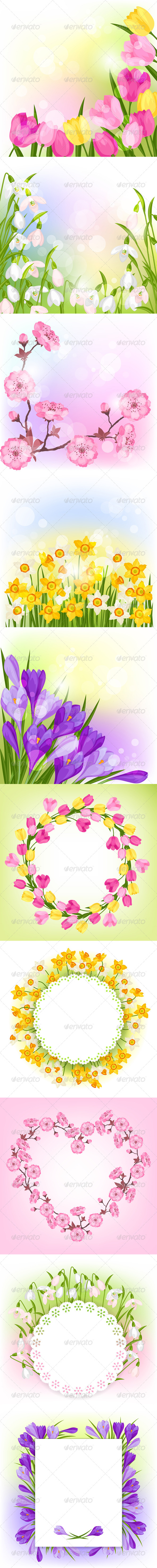 Spring Flowers Natural Backgrounds. - Flowers & Plants Nature