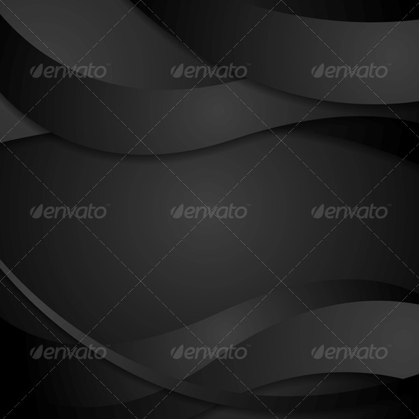 Abstract Black Waves Background - Backgrounds Decorative