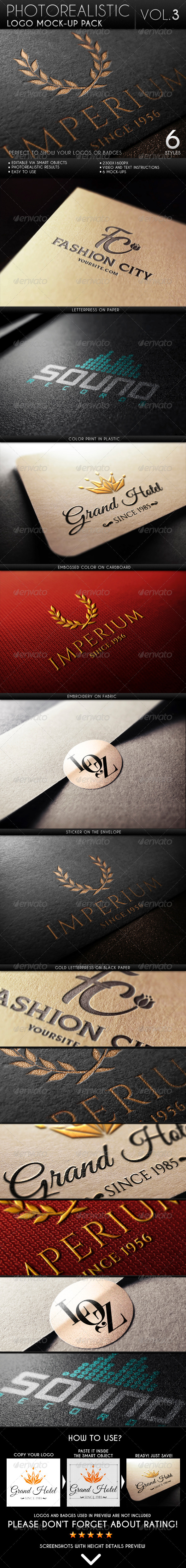 Photorealistic Logo Mock-Up Pack Vol.3 - Logo Product Mock-Ups