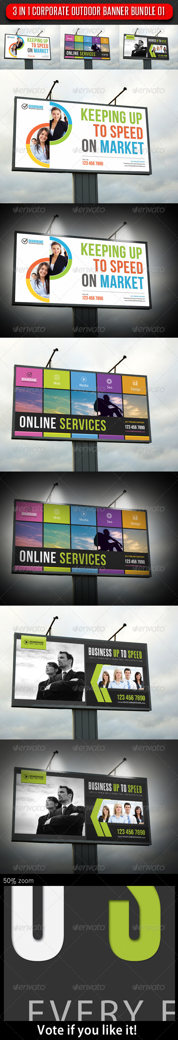 3 in 1 Corporate Banner Bundle 01 - Signage Print Templates