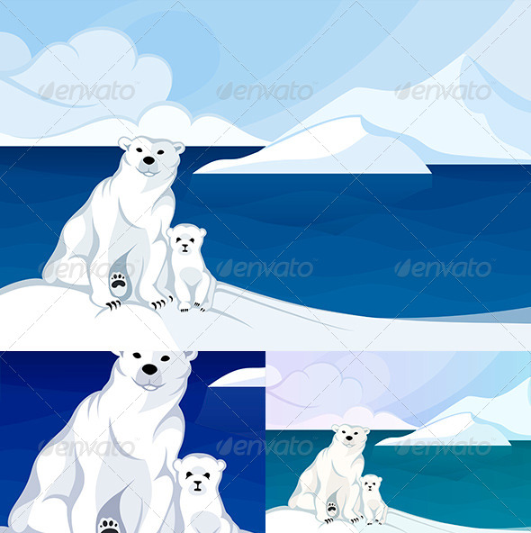 White Polar Bear with a Cub in Front of Polar Land - Animals Characters