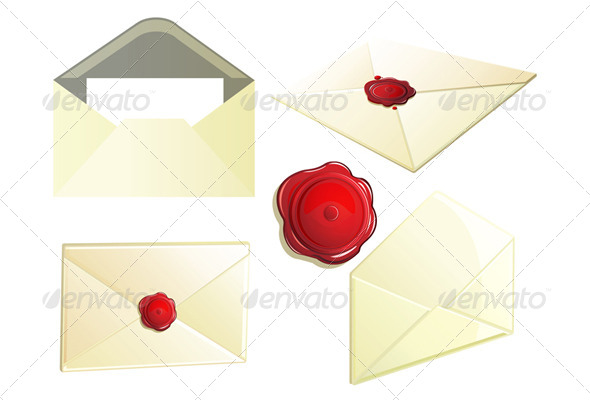 Set of Envelope with Seal - Man-made Objects Objects