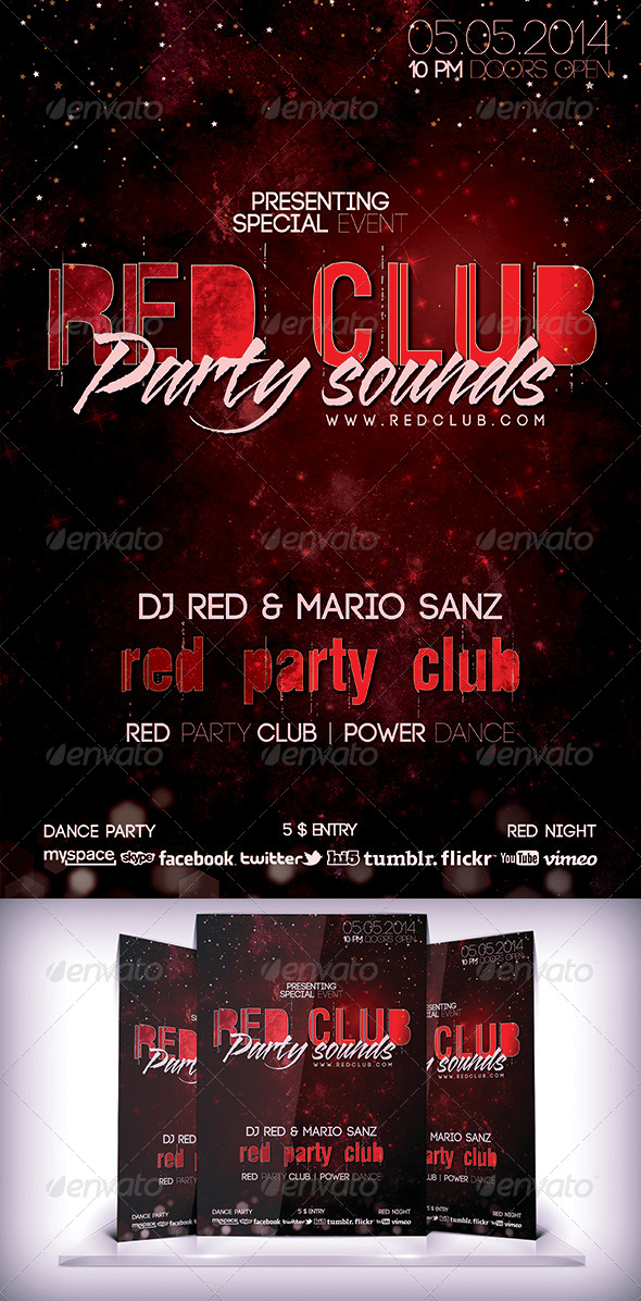 Red Club Party Flyer - Events Flyers