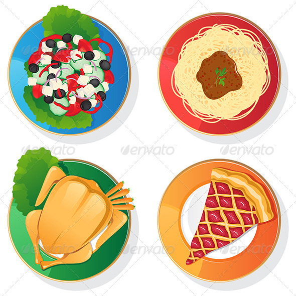 Four Plates - Food Objects