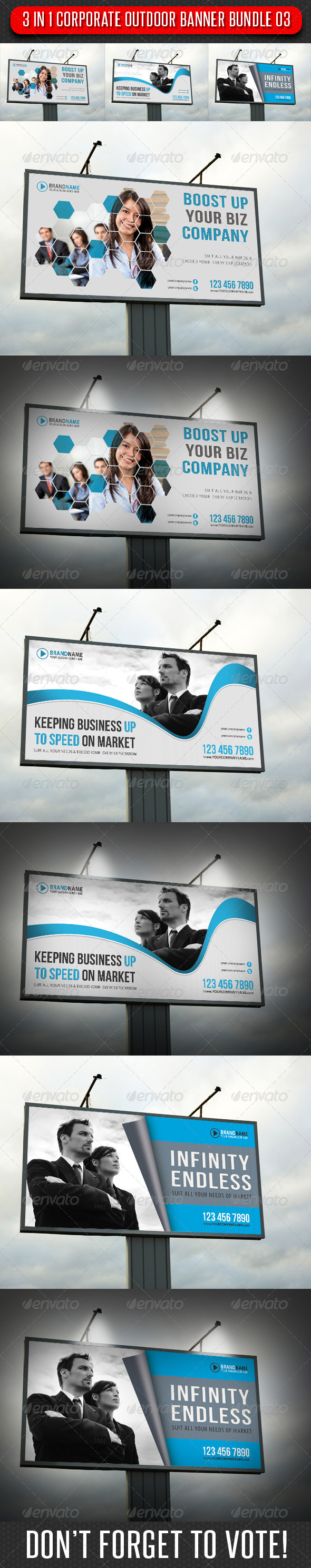 3 in 1 Corporate Outdoor Banner Bundle 03 - Signage Print Templates