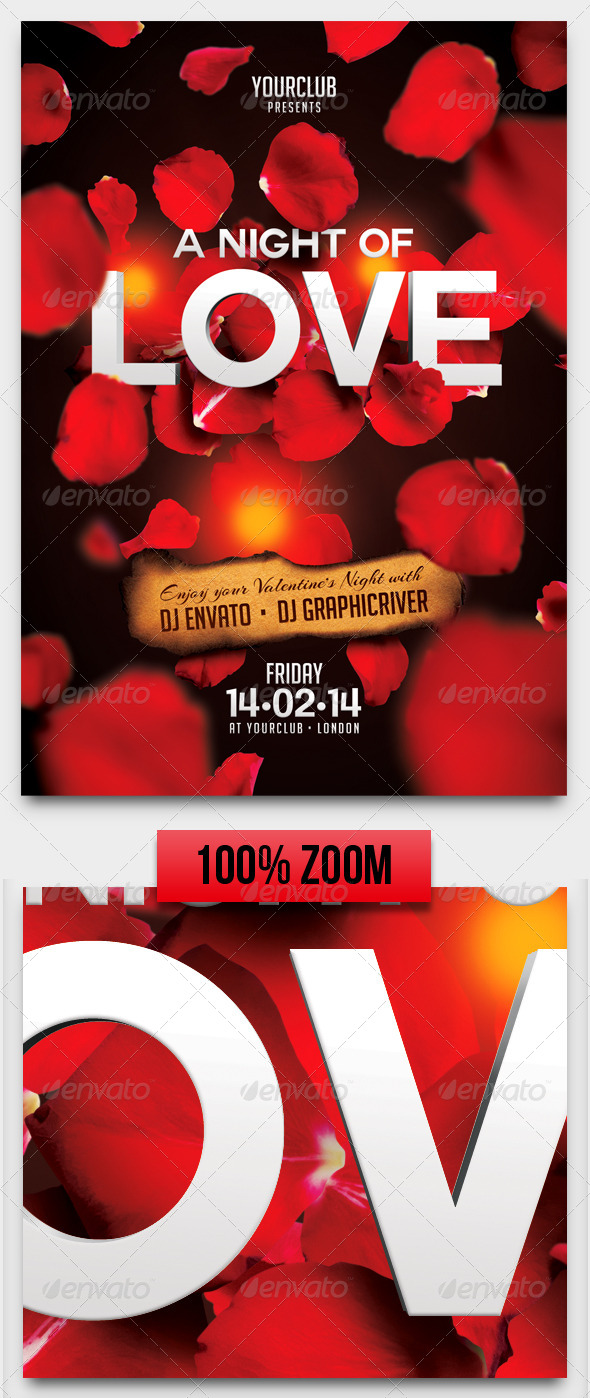 A Night of Love A5 Flyer Template - Clubs & Parties Events