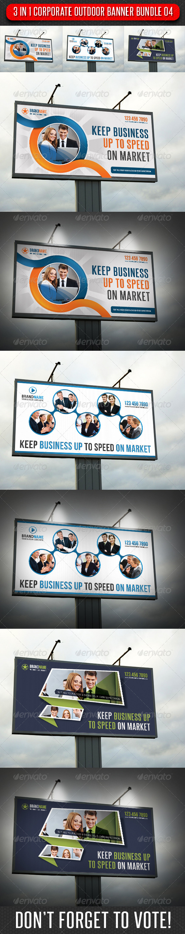 3 in 1 Corporate Outdoor Banner Bundle 04 - Signage Print Templates